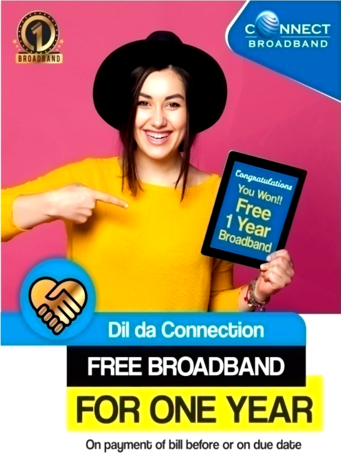 Connect broadband one year free offer in chandigarh Mohali panchkula.